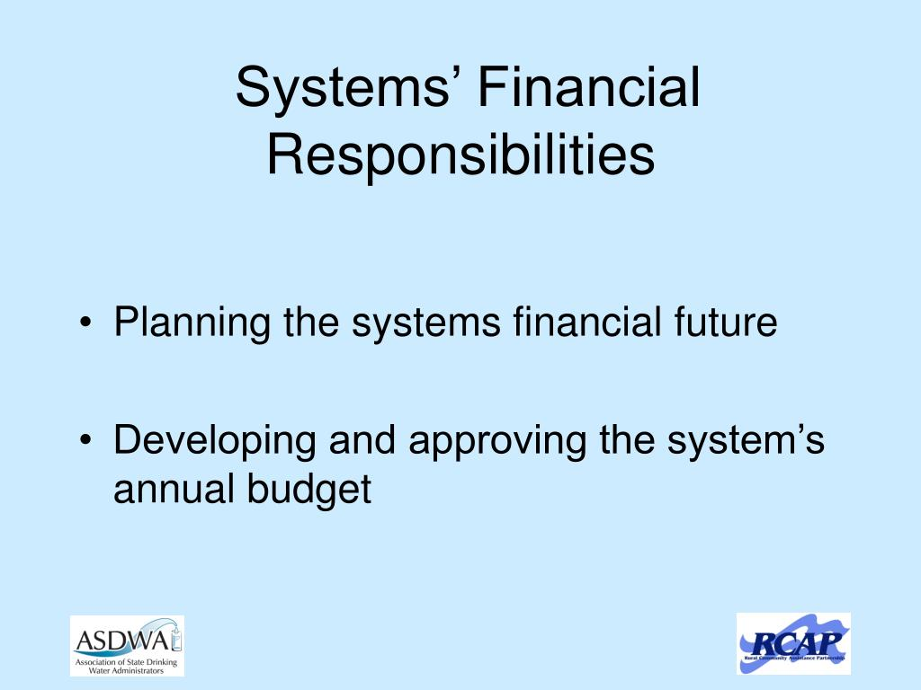 Systems' Financial Responsibilities