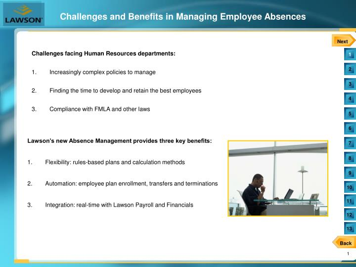 Challenges and benefits in managing employee absences