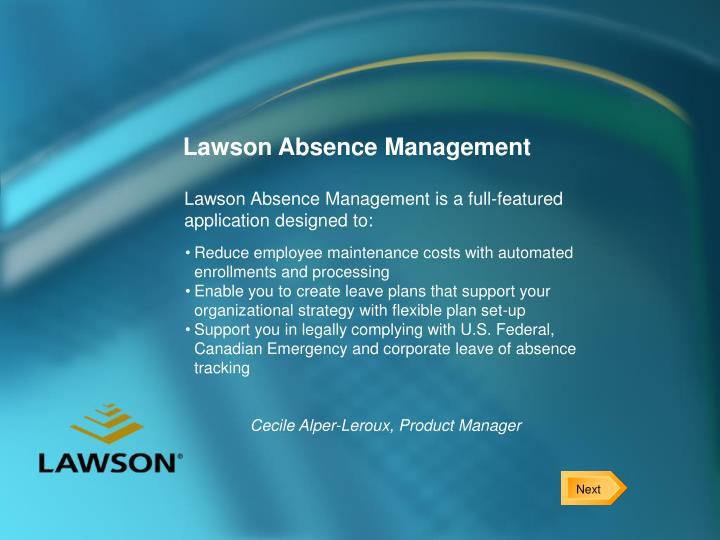 Lawson absence management