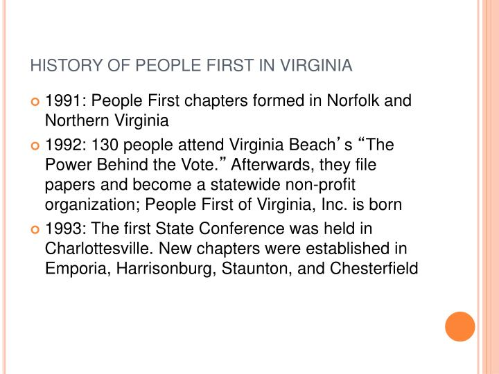 HISTORY OF PEOPLE FIRST IN VIRGINIA