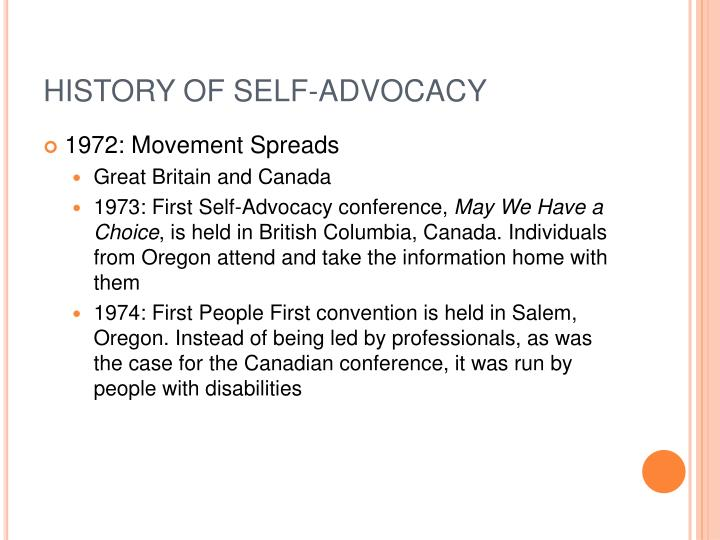 HISTORY OF SELF-ADVOCACY