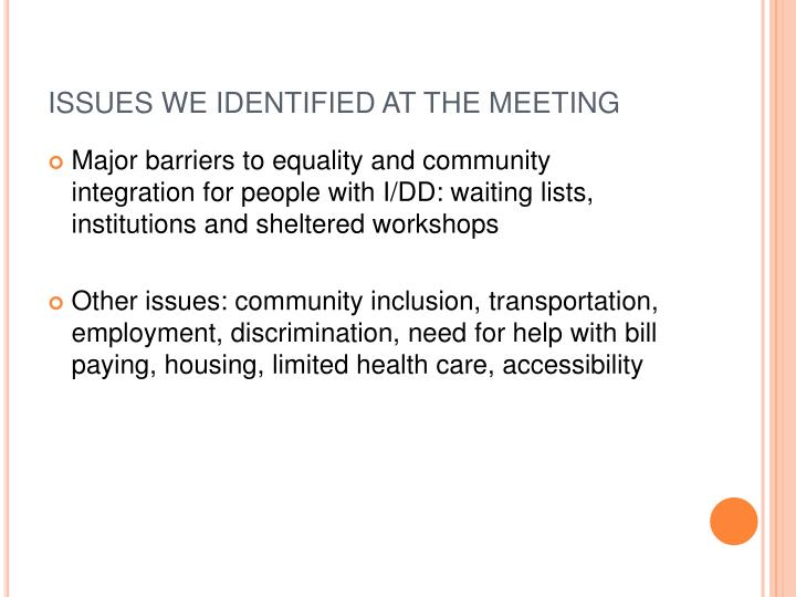 ISSUES WE IDENTIFIED AT THE MEETING