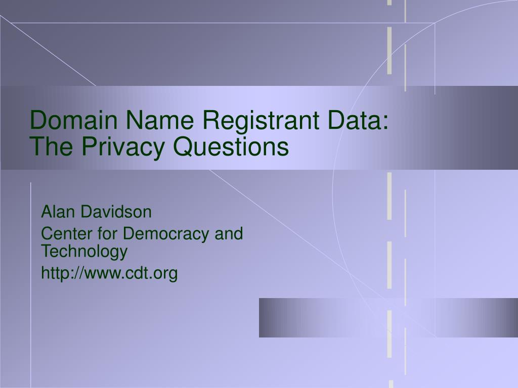 domain name registrant data the privacy questions l.