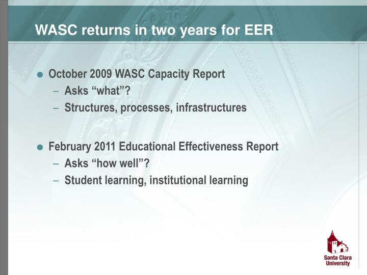 WASC returns in two years for EER