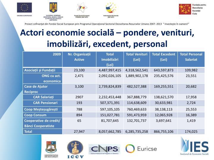 Actori economie socială – pondere, venituri, imobilizări, excedent, personal
