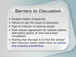 barriers to discussion