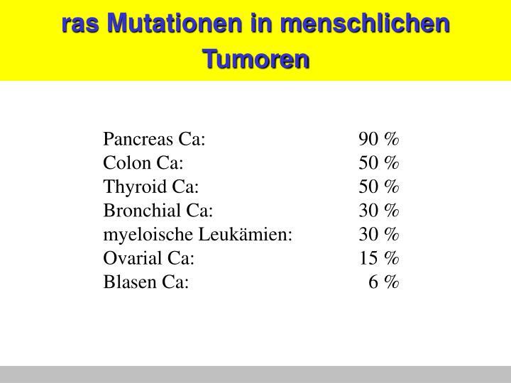 ras Mutationen in menschlichen Tumoren