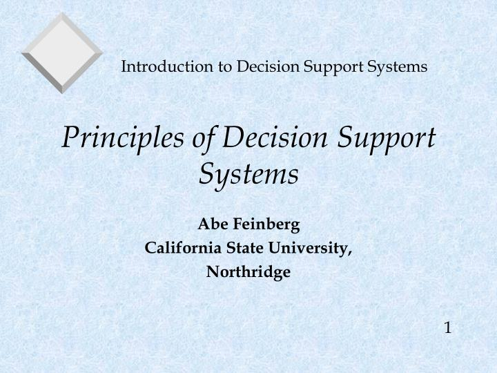 principles of decision support systems n.