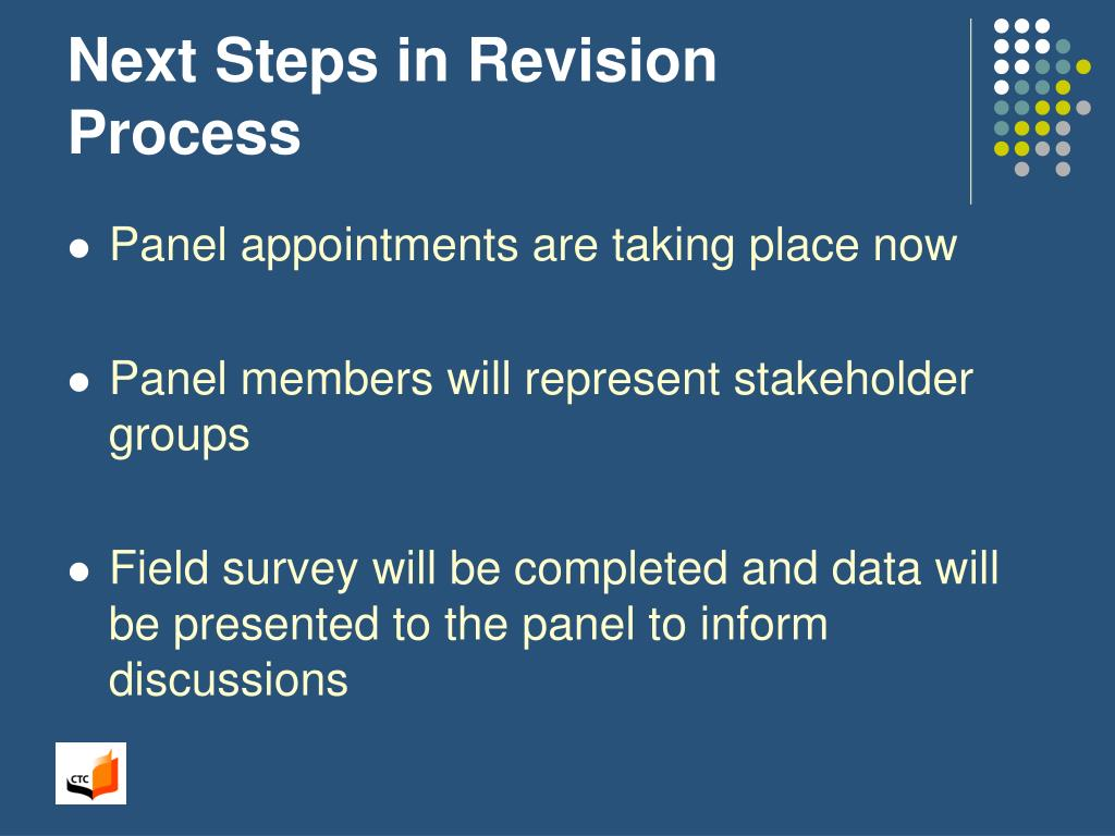 Next Steps in Revision Process
