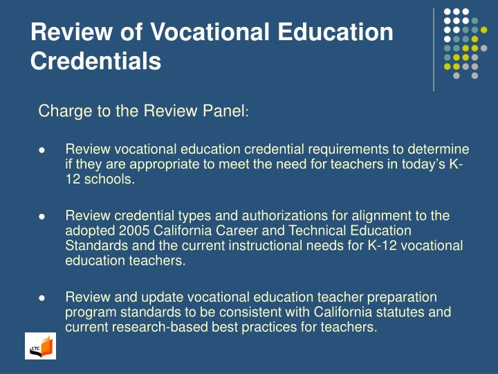 Review of vocational education credentials