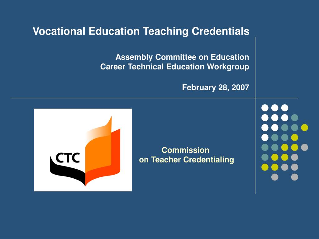 Vocational Education Teaching Credentials