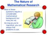 the nature of mathematical research4