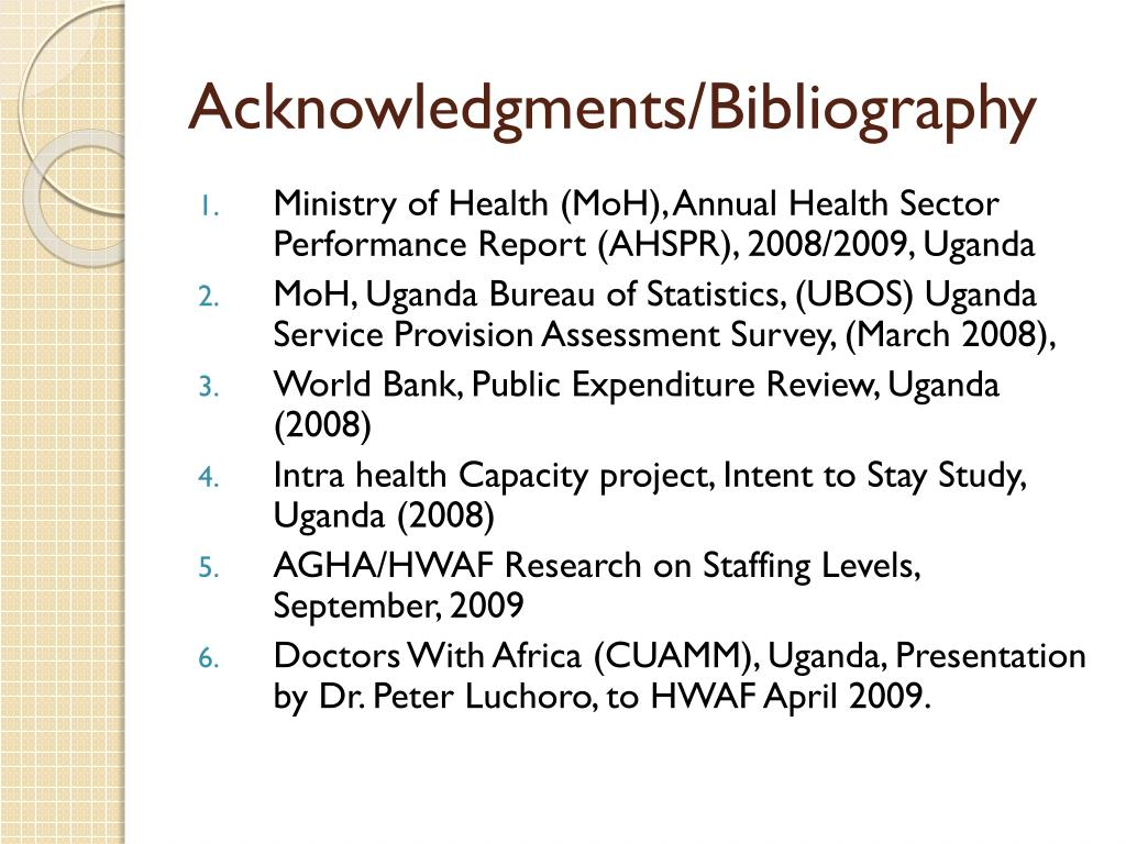 Acknowledgments/Bibliography