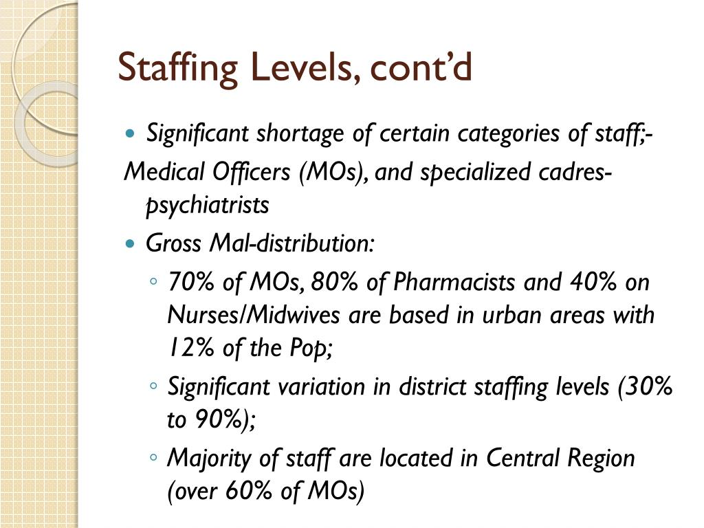 Staffing Levels, cont'd