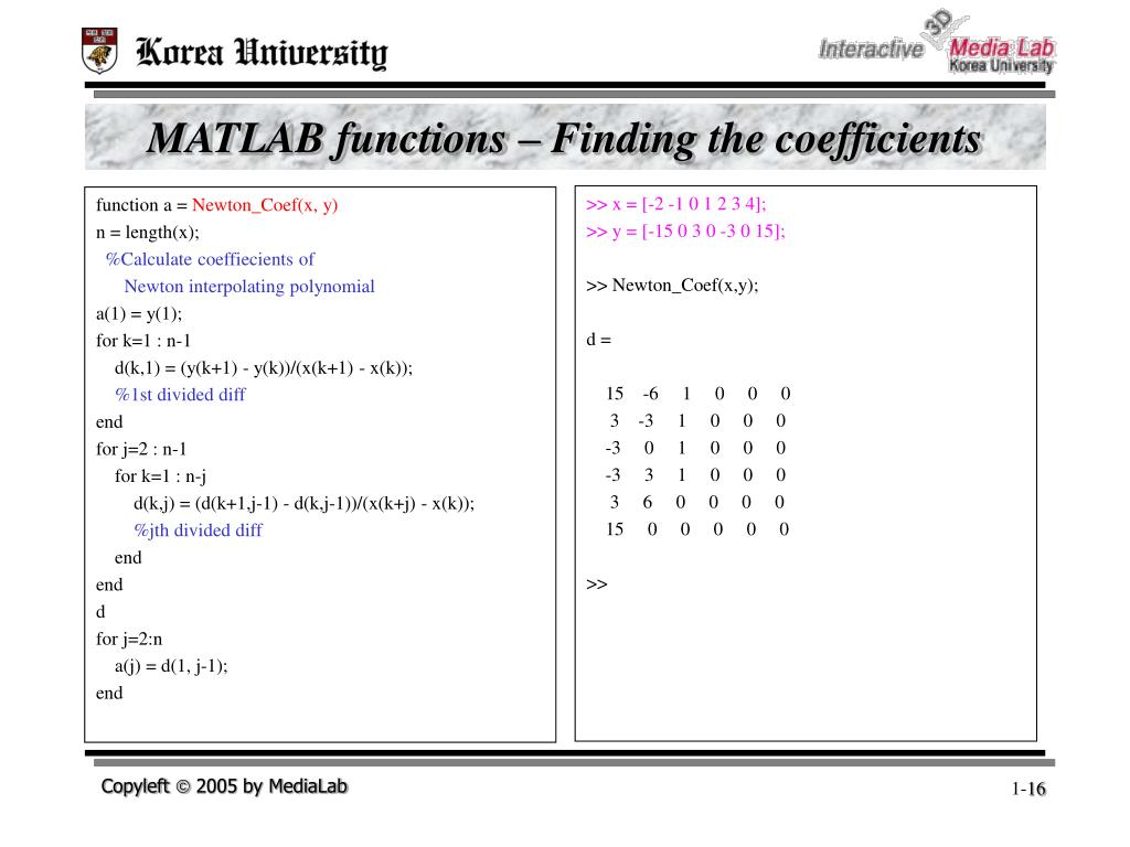 MATLAB functions – Finding the coefficients