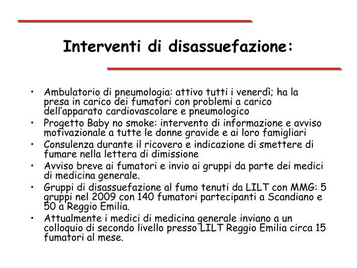 Interventi di disassuefazione:
