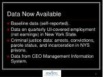 data now available