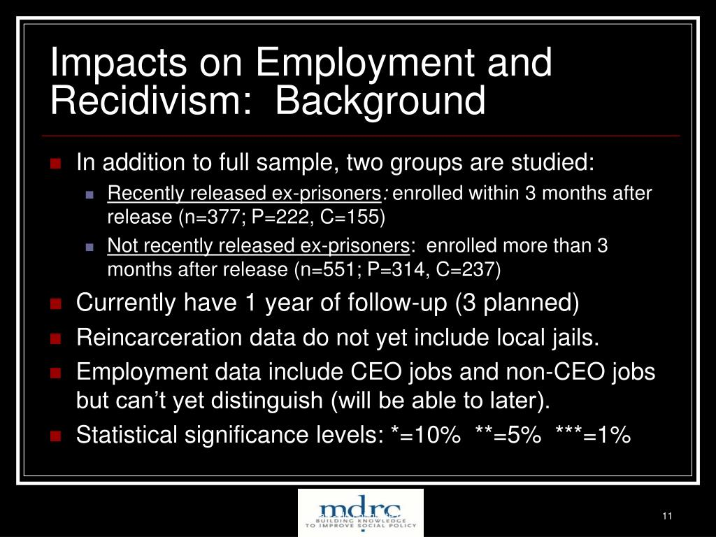 Impacts on Employment and Recidivism:  Background