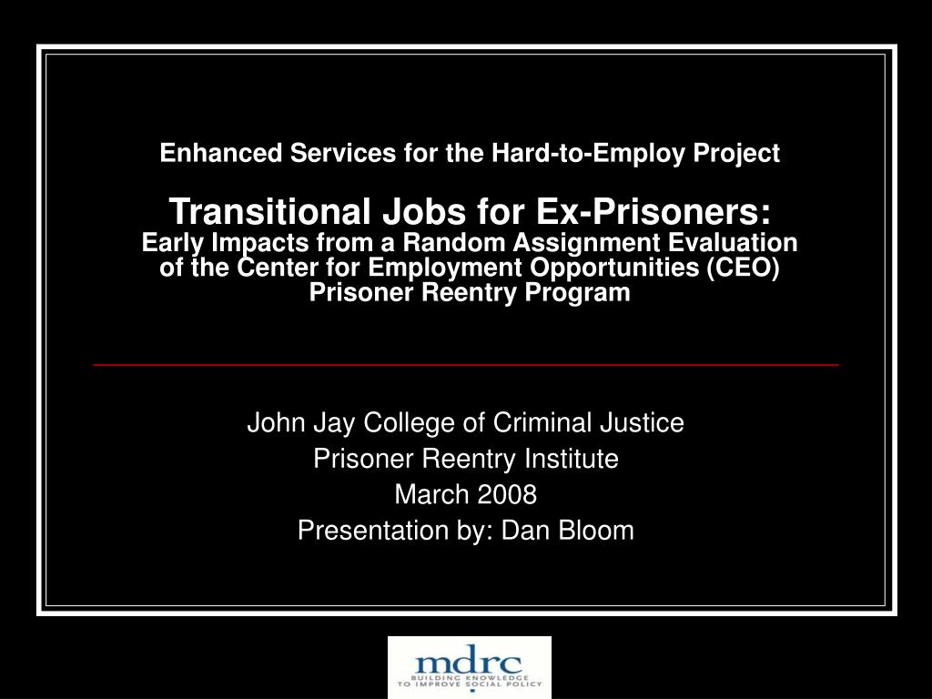 Enhanced Services for the Hard-to-Employ Project
