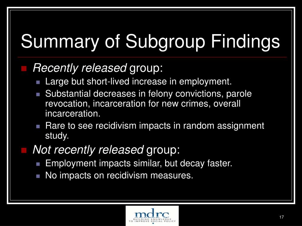Summary of Subgroup Findings