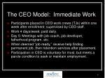 the ceo model immediate work