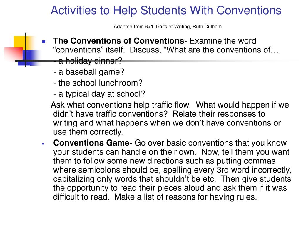 Activities to Help Students With Conventions