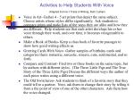 activities to help students with voice adapted from 6 1 traits of writing ruth culham