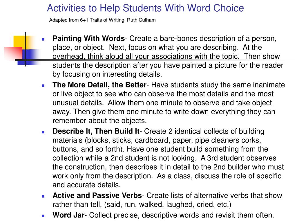Activities to Help Students With Word Choice