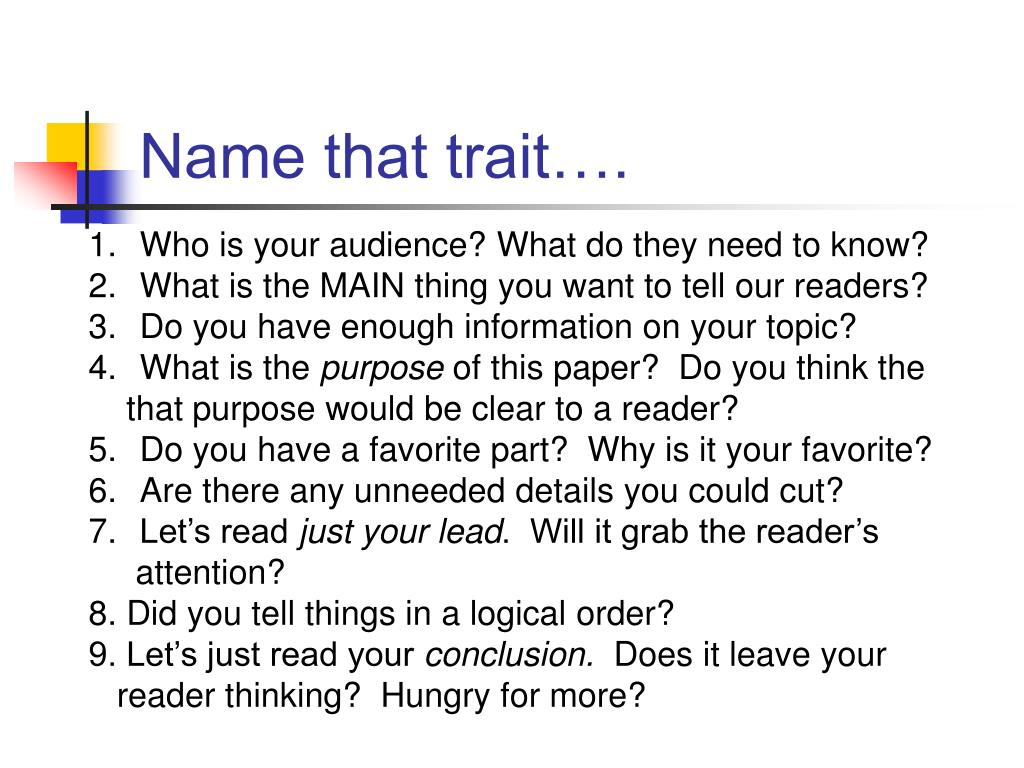 Name that trait….