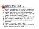 name that trait