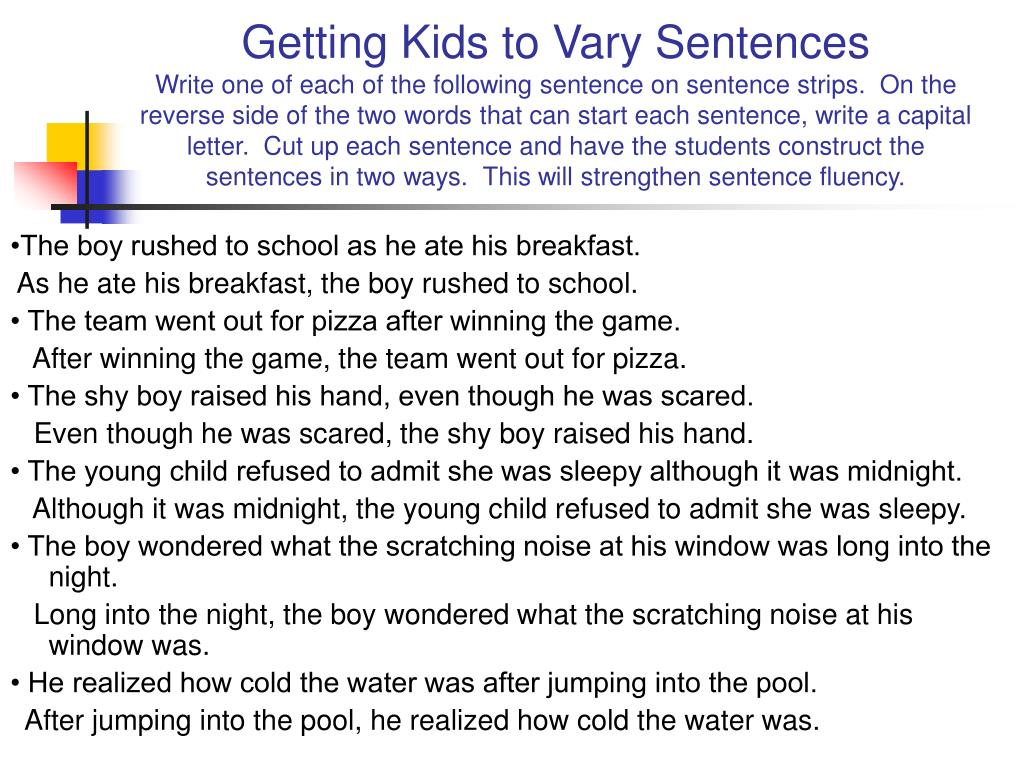 Getting Kids to Vary Sentences