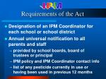 requirements of the act
