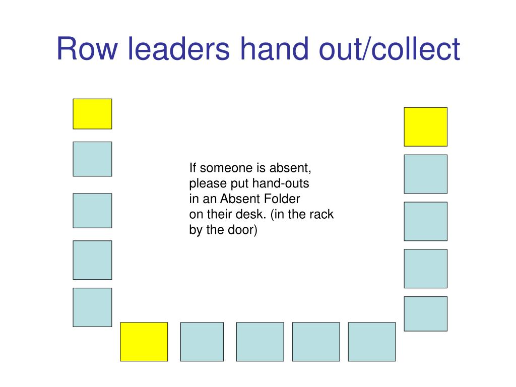 Row leaders hand out/collect
