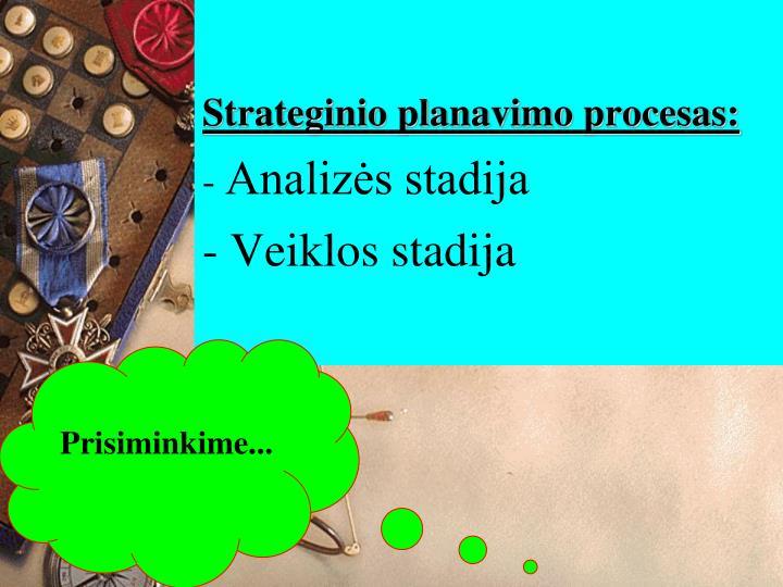 Strateginio planavimo procesas analiz s stadija veiklos stadija