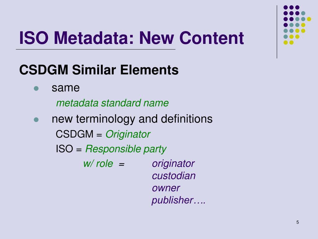 ISO Metadata: New Content