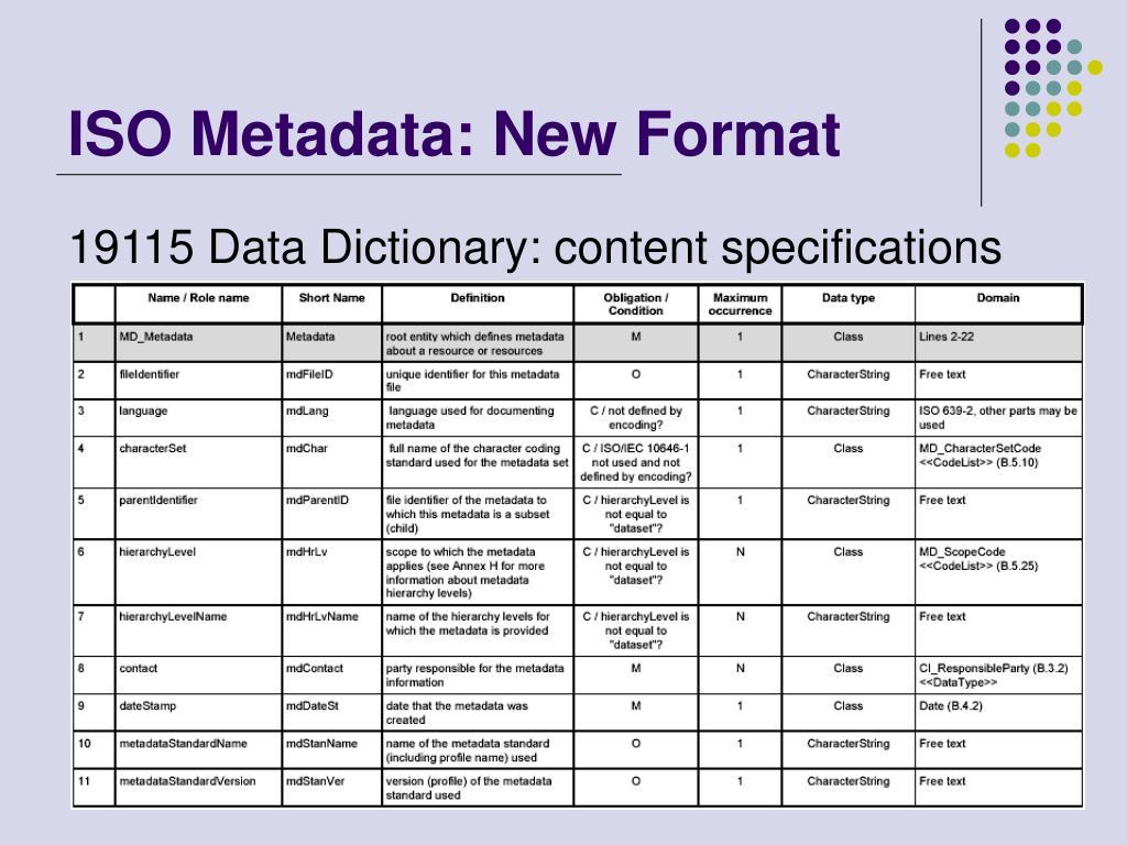ISO Metadata: New Format