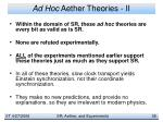 ad hoc aether theories ii