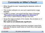 comments on miller s result