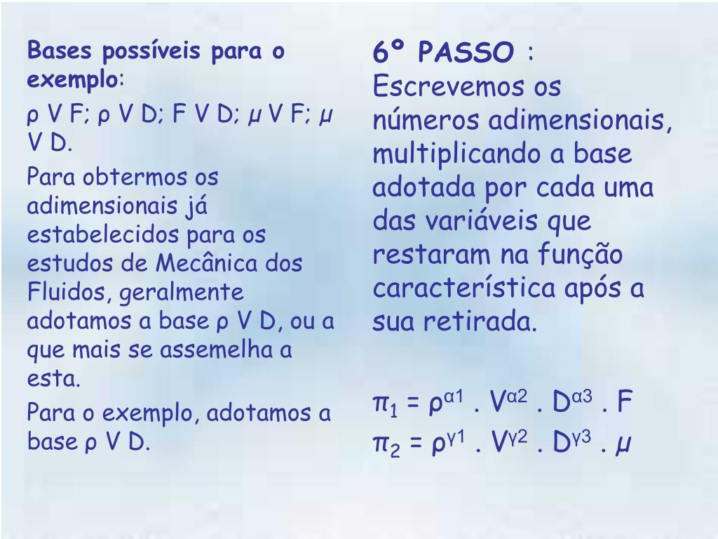 Bases possíveis para o exemplo