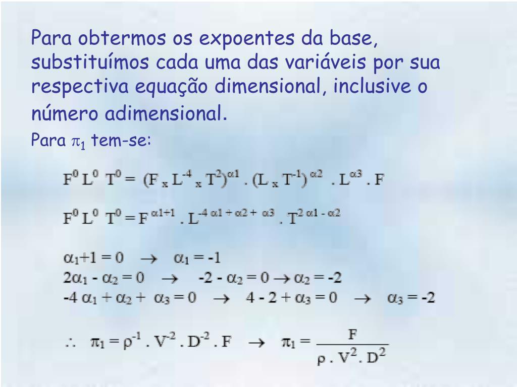 Para obtermos os expoentes da base, substituímos cada uma das variáveis por sua respectiva equação dimensional, inclusive o número adimensional