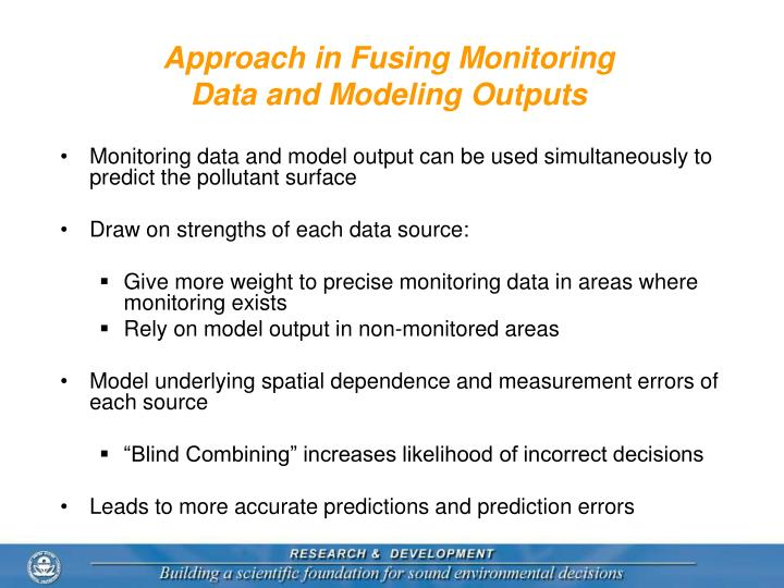 Approach in Fusing Monitoring Data and Modeling Outputs