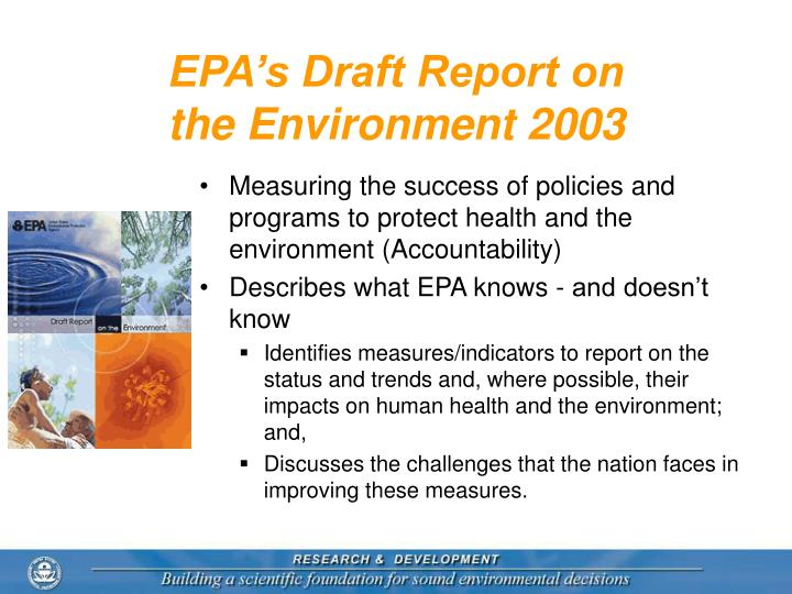 Epa s draft report on the environment 2003