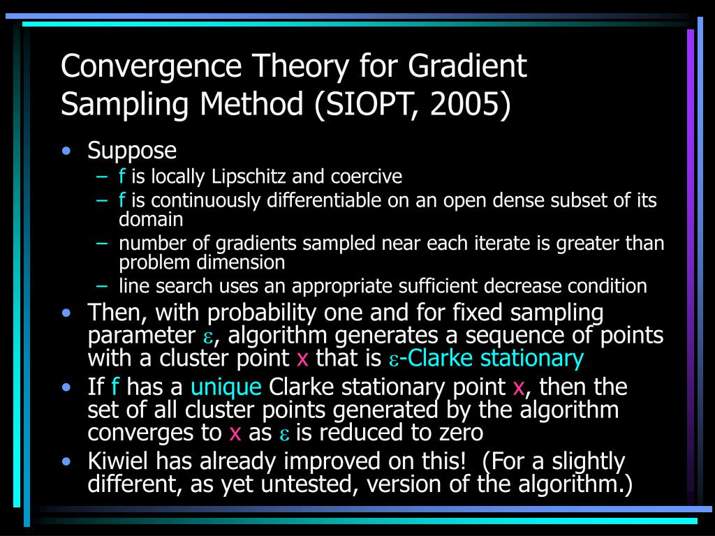 Convergence Theory for Gradient Sampling Method (SIOPT, 2005)