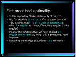 first order local optimality