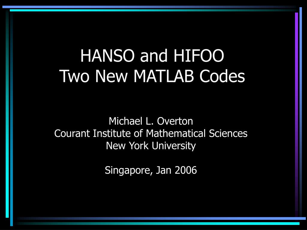 hanso and hifoo two new matlab codes l.