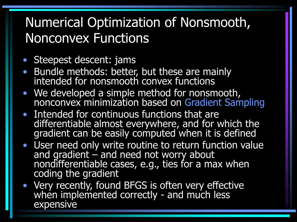 Numerical Optimization of Nonsmooth, Nonconvex Functions