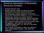 numerical optimization of nonsmooth nonconvex functions