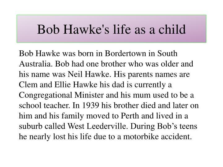 Bob Hawke's life as a child