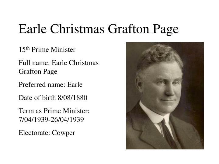 Earle Christmas Grafton Page