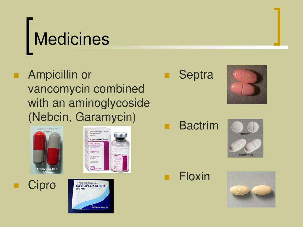 Ampicillin or vancomycin combined with an aminoglycoside (Nebcin, Garamycin)